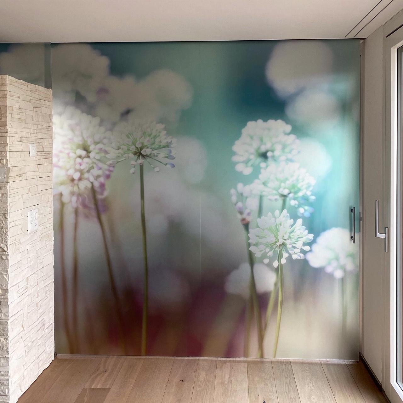 Glasbild Blütenwiese