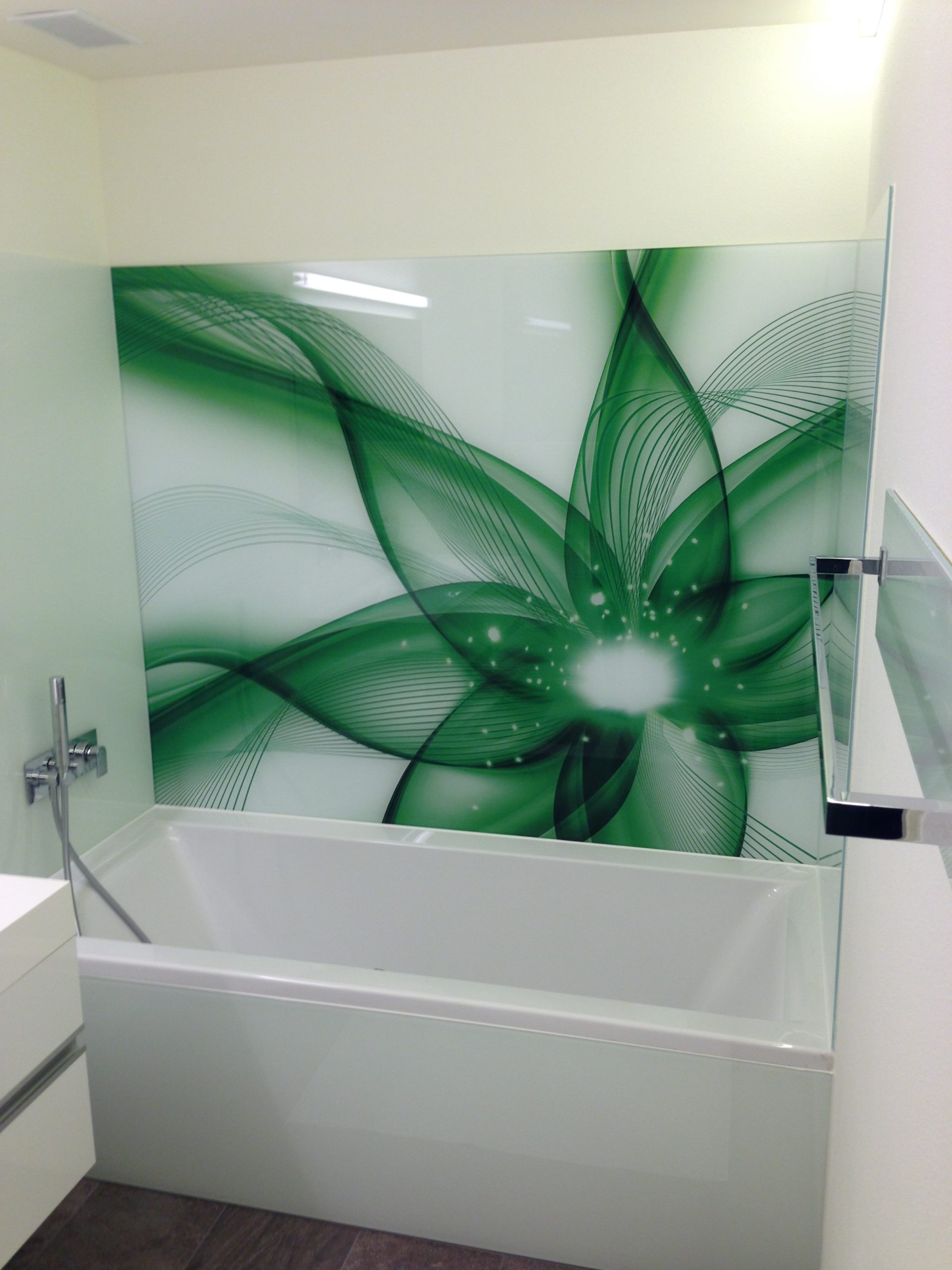 Glasbild grünes Muster