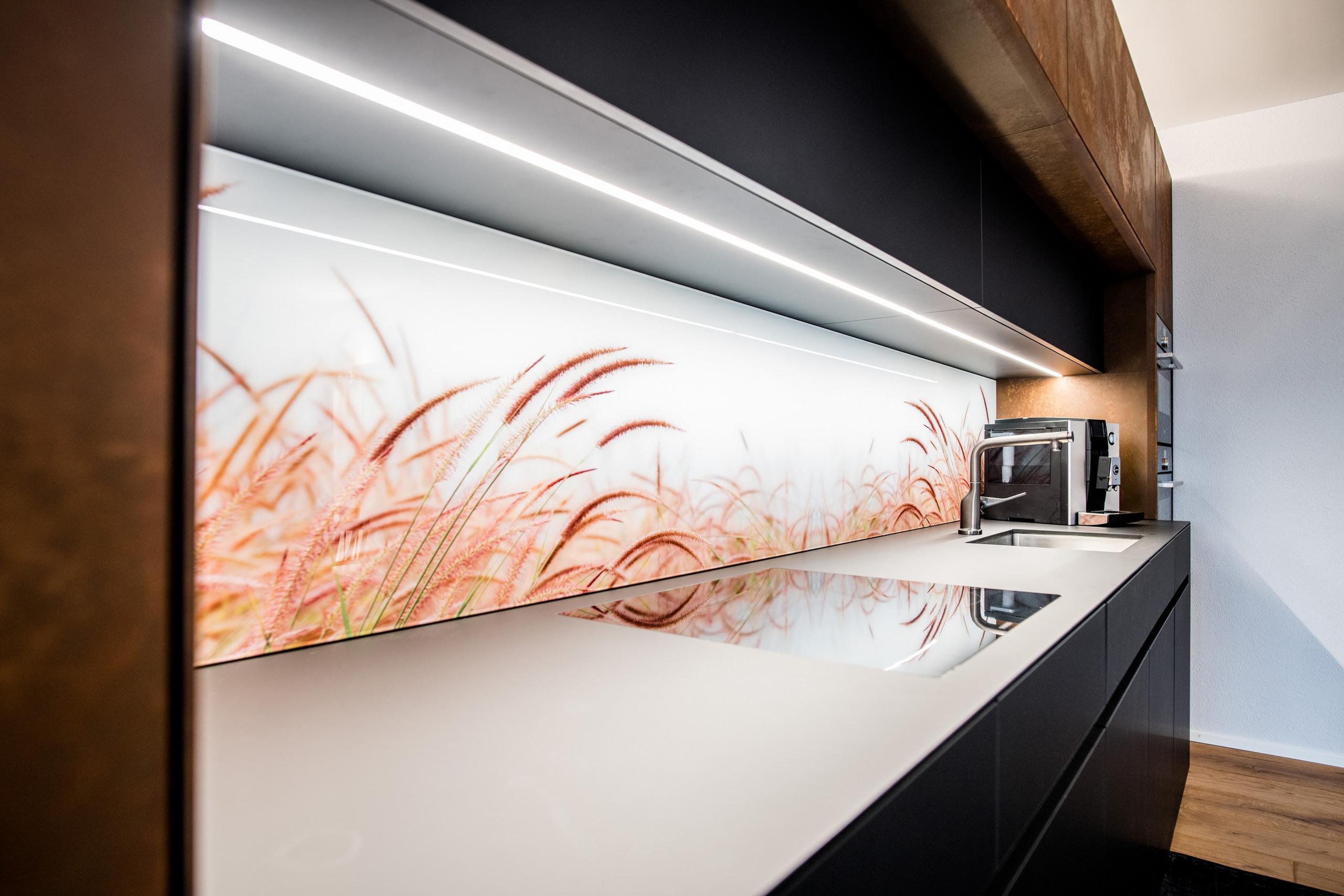 Küchenrückwand aus Glas schlicht